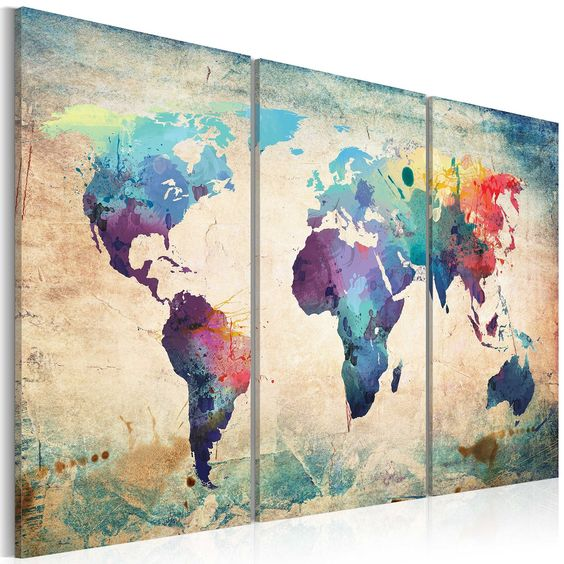 grand format impression sur toile images 3 parties carte du monde tableau 020113 47 120x80 cm b. Black Bedroom Furniture Sets. Home Design Ideas
