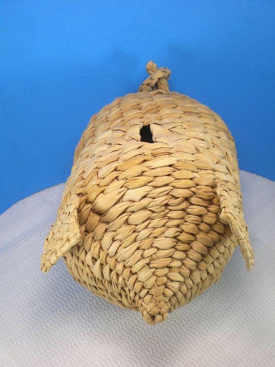 Folk Art Piggy Bank Woven Rattan?-Vintage Basket Weave Pig