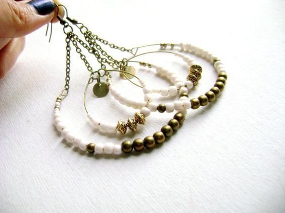 Boho chic earrings - Intrigue - delicate hoop long ivory  big bohemian style earrings on Etsy, $27.00