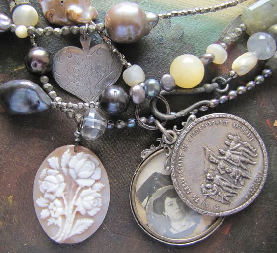 Wrap it Up Necklace. 72 inches of gorgeous beads - pearls and gemstones to wrap around your neck up to four times! Antique cameo, French slide locket and heart-shaped French love token.