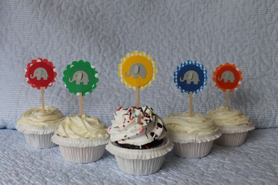 Colorful Elephant Cupcake Toppers by ThatsSoCuteEtsyShop on Etsy, $13.00