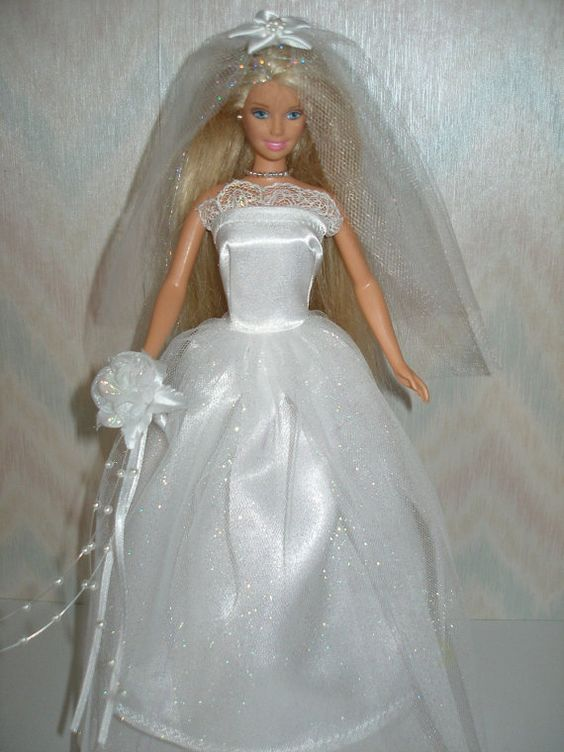 Handmade Barbie doll clothes white satin and by TheDesigningRose