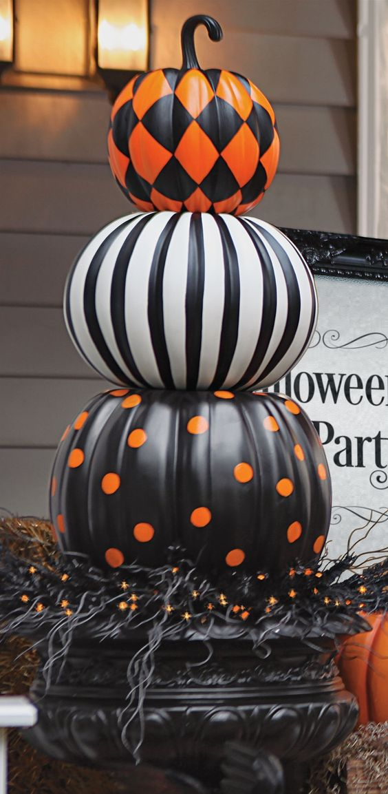 Put a designer spin on decorating with gourds. Our Halloween Stacked Pumpkins are both witty and stylish. | Halloween Haven by Grandin Road: