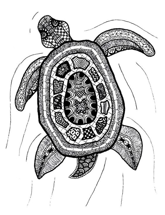Zentangle art zentangle turtle print by printfox on etsy for Art drawing ideas for adults