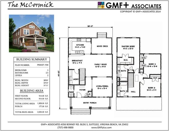 2 Story 3 Bedroom House Plan For Narrow Urban Infill Lot