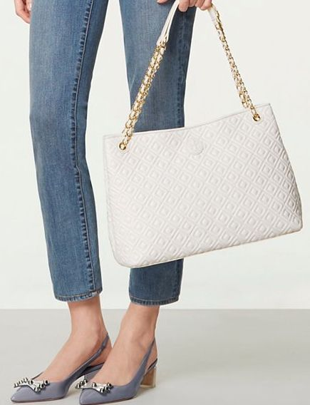 pretty white and pink quilted bag
