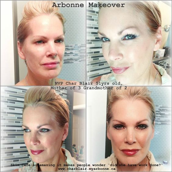 I have had bad skin my whole life and even in my 20's I wouldn't be caught dead with out a mask of foundation. Here I am at 51, going completely bare face (first pic)  I have been using Arbonne's RE9 Anti Aging system for two years now and it continues to blow my mind!   www.charblair.myarbonne.ca