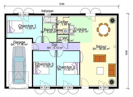 Plan maison 3 chambres plain pied plans de maison for Plan cuisine salon