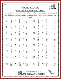 math worksheet : adding fractions with like denominators a fraction worksheet for  : Adding Fractions Worksheets 4th Grade