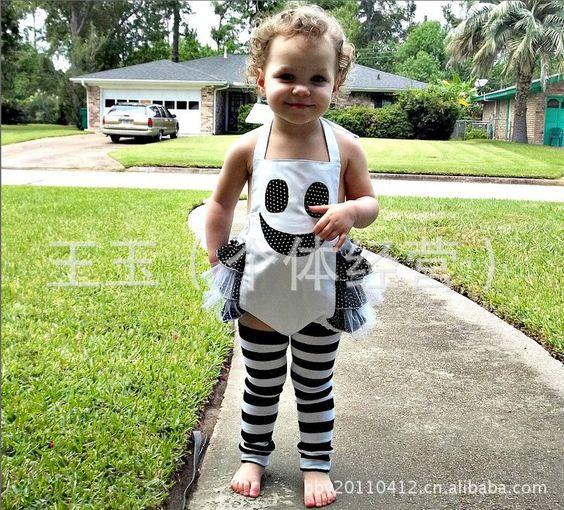 2013夏装新款 黑白万圣节南瓜图案套装 童装 童套装广东产地