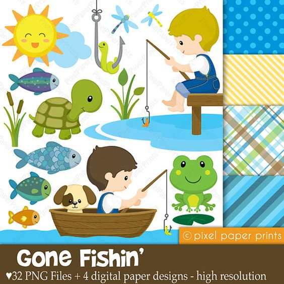 Gone Fishing - Digital paper and clip art set