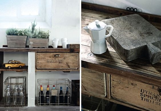 reclaimed wood counters and wire baskets