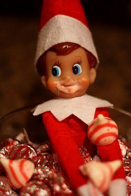 Candy cane kiss stealing elf elf fun pinterest elf for Elf on the shelf chocolate kiss