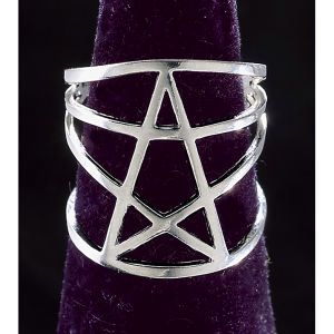 Pyramid Collection Sterling Pentagram Ring - The Pentagram. Symbol of perfection and wholeness, this pentagram ring represents the elements of earth, air, fire, water, and spirit. Sterling silver. For men and women.