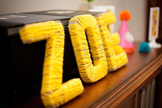 Wrapped letters for party