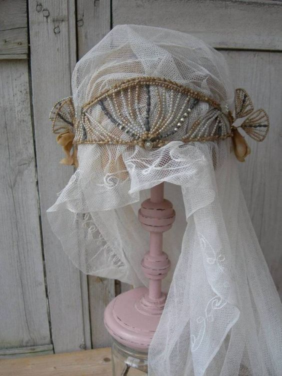 Antique French 1920s faux pearls mercury glass beads wedding tiara & veil