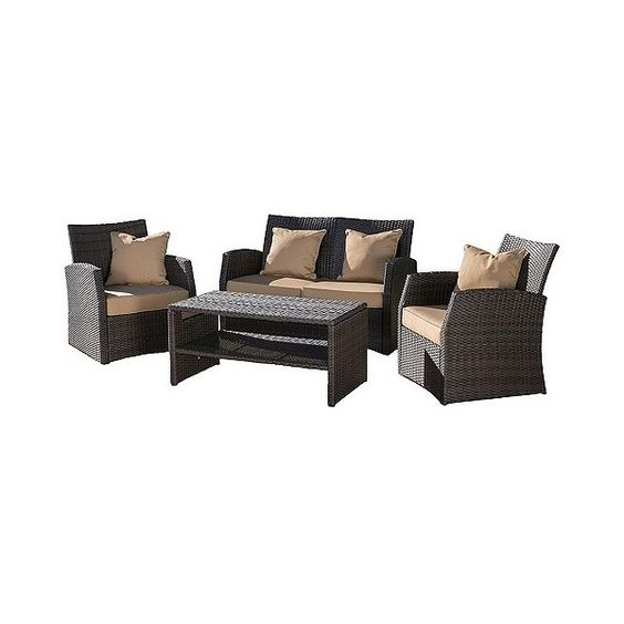 Patio Seating Set: Christopher Knight Home Sanger 4-piece Wicker Patio... ($900) ❤ liked on Polyvore featuring home, outdoors, patio furniture, brown, outdoors patio furniture, wicker garden furniture, outdoor furniture, outdoor seating sets and outdoor patio furniture
