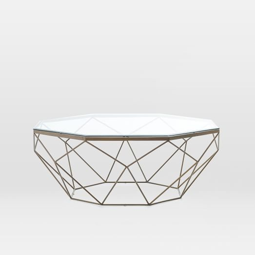 Geometric Coffee Table With Glass Top And Antique Brass