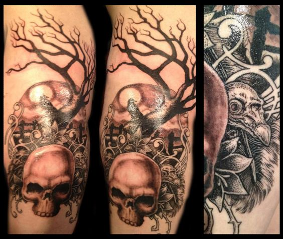 tree with sculls   Skulls (human and crow), tree sihlouette