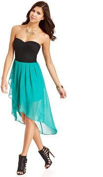 WishesWishesWishes Juniors Dress- Strapless Banded Pleated High ...