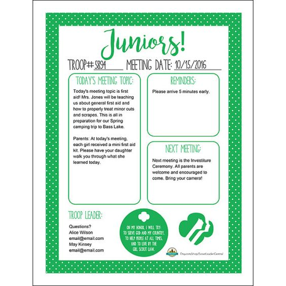 Instant Download Girl Scout Juniors Meeting by ScoutLeaderCentral