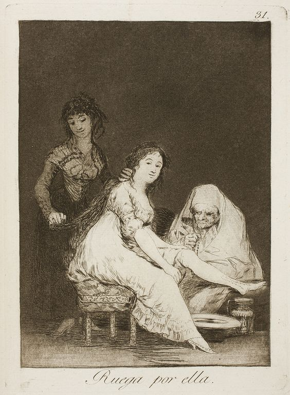 "Francisco de Goya: ""Ruega por ella"". Serie ""Los caprichos"" [31]. Etching, aquatint, drypoint and burin on paper, 205 x 150 mm, 1797-99. Museo Nacional del Prado, Madrid, Spain"
