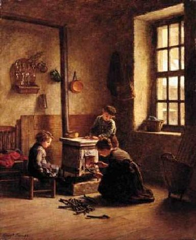 Lighting the stove by Pierre Edouard Frère
