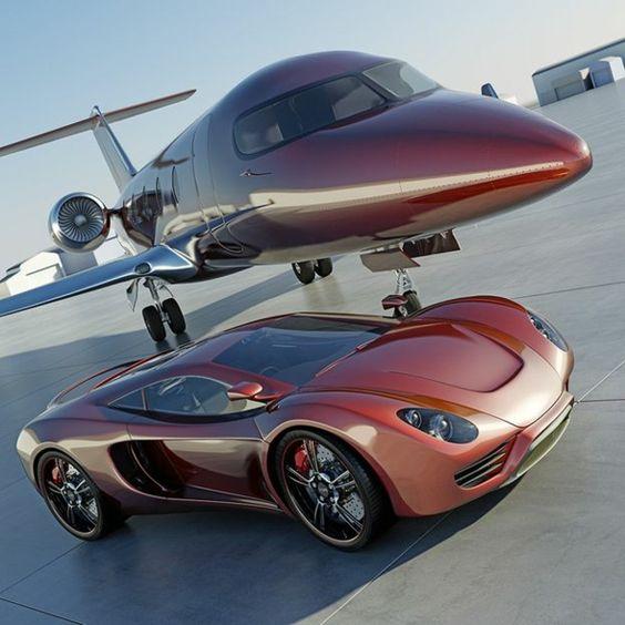le jet privé rouge de vos reves, une voiture de luxe rouge