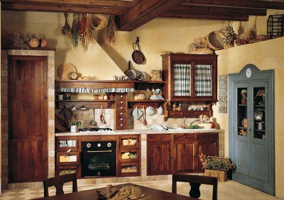 Landhausküche aus lackiertem Holz (Nostalgische Küche) DORALICE - outdoor küche holz