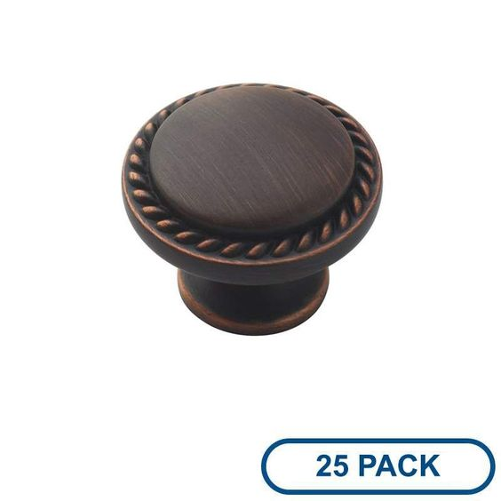 Amerock BP53001-25PACK Allison Value Hardware 1-3/8 Inch Diameter Mushroom Cabin