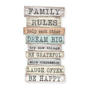 Señal decorativa Family Rules gris claro y beige  42 x 1 x 50 cm