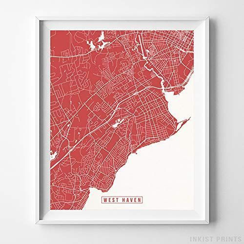 West Haven Connecticut Map Print Street Poster City Road Wall Art Home Decor In 2020 Map Wall Art Poster Wall Art Map Print