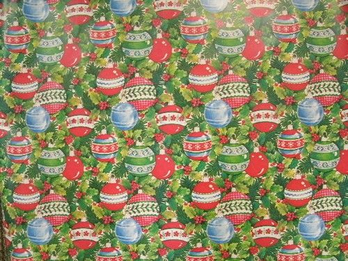 "Vintage Department Store Wrapping Paper Christmas Ornaments 30"" Wide x 3 Yards 