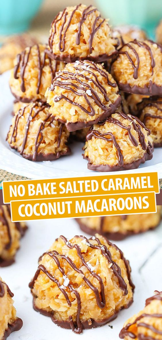 No Bake Salted Caramel Coconut Macaroons