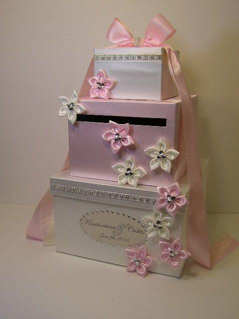 Wedding Money Gift Box Ideas : White and Light pink Wedding Card Box Gift Card Box Money Box Holder ...
