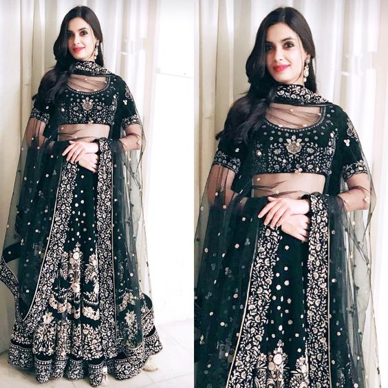 Indian Lehenga Choli Designs For Wedding Embroidered Black by Ritu Kumar