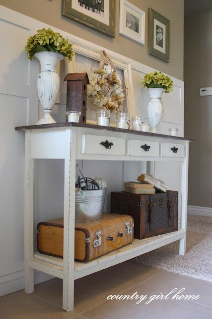 5 Great DIY Entry Tables With Tutorials. Particularly interested in the sewing table. I now know what to do with the one I have in my garage.