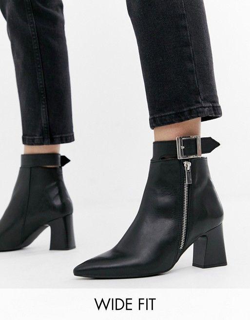 Depp wide fit leather side zip heeled