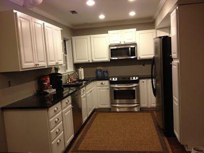 White Cabinets, Black granite counters, Kitchen layout, Stainless appliances, Gray kitchen, Grey Kitchen