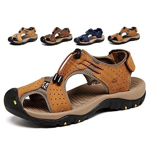 Amazon.com   Sandals Men Leather Beach Shoes Baotou Casual Large size  Outdoor Casual Fisherman Strap Hiki…   Stride rite sandals, Cheap fashion  shoes, Camping shoes