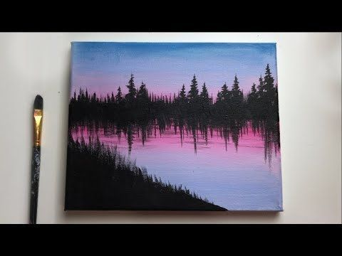 Easy Forest Acrylic Painting For Beginners Acrylic Painting Ideas Acrylic Begi In 2020 Nature Paintings Acrylic Easy Nature Paintings Acrylic Painting For Beginners