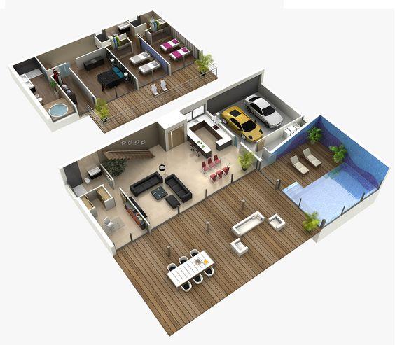 Planos 3d planos color trest vere infograf a 3d for Planos de piscinas