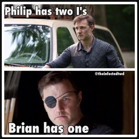 "The Walking Dead ""Philip has two I's Brian has one..."" #thewalkingdead #amc #thegovernor"