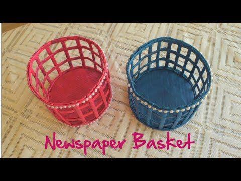 Newspaper Basket Waste Material Craft Paper Craft Idea Parulpawar Youtube Craft From Waste Material Newspaper Basket Newspaper Crafts