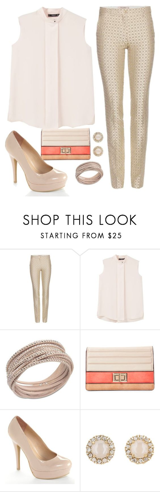 """""""nude"""" by fernanda-marfil ❤ liked on Polyvore featuring Etro, MANGO, Swarovski, Melie Bianco, LC Lauren Conrad and Kate Spade"""