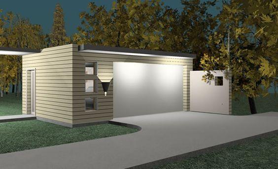 Modern garage plans and detached garage on pinterest for Modular garage addition