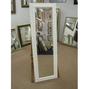 """NEW ORNATE SHABBY CHIC STYLE LONG & FULL LENGTH DRESSING MIRROR - 5 COLOURS AVAILABLE - 5 SIZES AVAILABLE - PRICES FROM £36.99, 21"""" X 53"""", WHITE"""