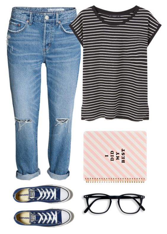 """Sin título #28"" by mykingky ❤ liked on Polyvore featuring MANGO, Converse and ban.do"