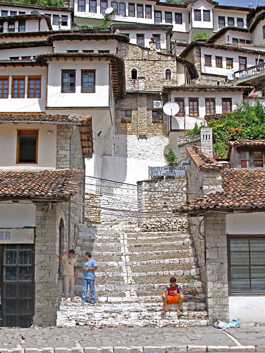 Berat, Albania. Berat is known to Albanians as The City of a Thousand Windows, or The City of Two Thousand Steps.