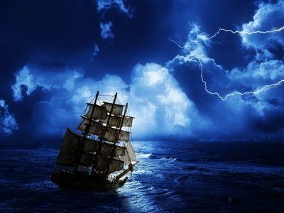 old masted ship, lightning storm, ocean moonlight